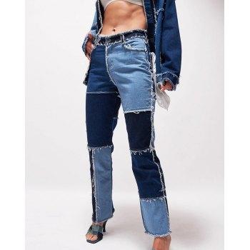 Patchwork Denim Boyfriend Jeans
