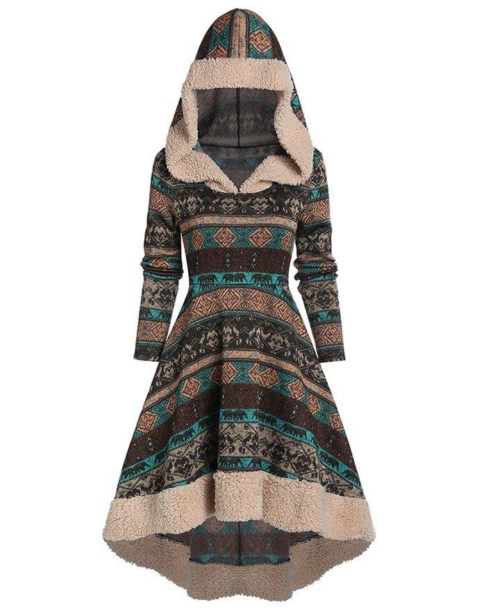 Vintage Geometric Print Knitted Hoodie Maxi Dress - Brown 3XL