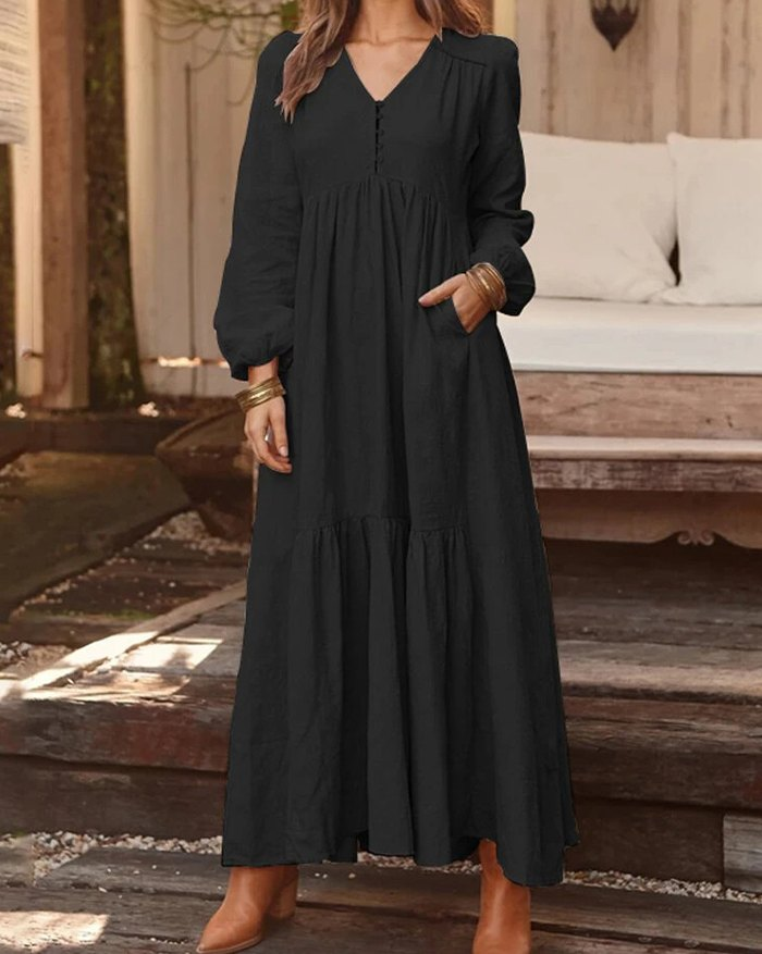 Women Solid Color V-neck Long Sleeve Causal Maxi Dress - Black M