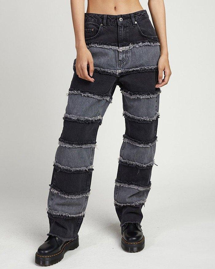 High-waist Patchwork Wide-leg Straight Boyfriend Jeans - Black S
