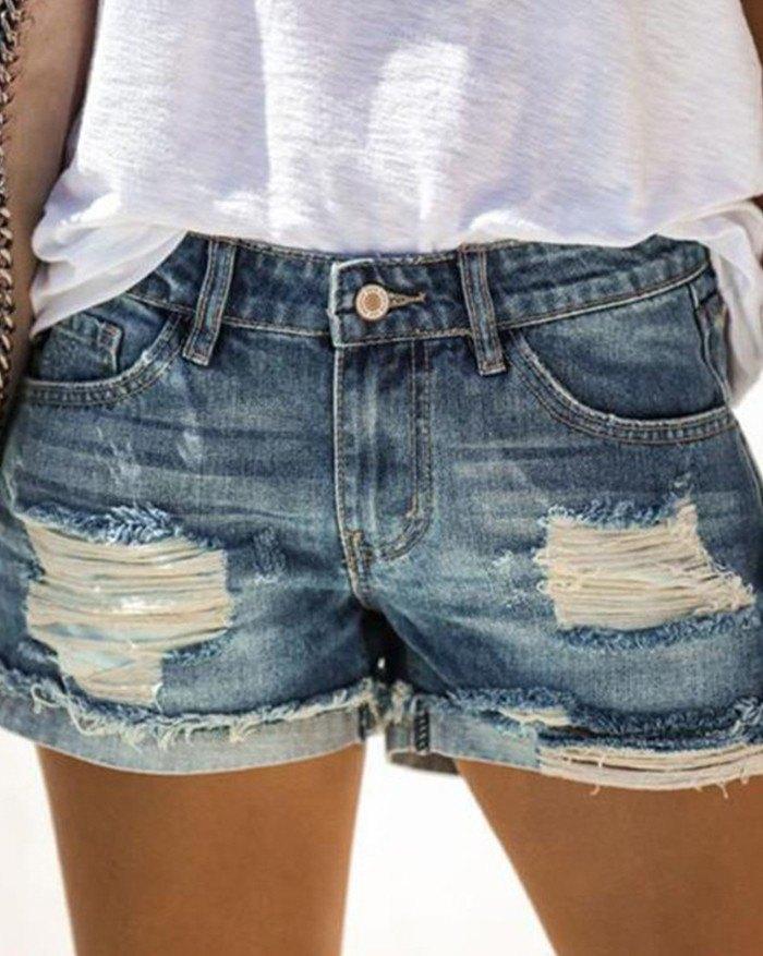 Mid-waist Ripped Denim Shorts - Blue M