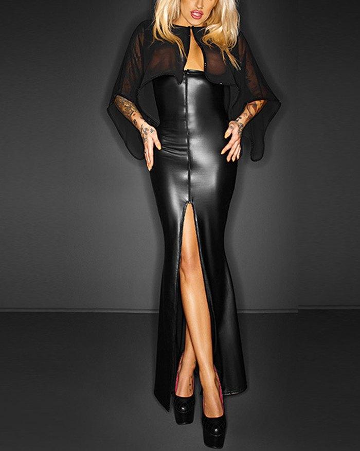 Patent Leather Mesh Panel Sheer Slit Maxi Dress - Black M