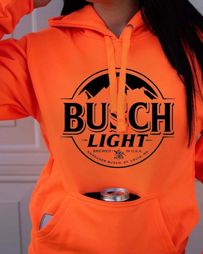 Busch Letter Print Hoodie - Orange 2XL