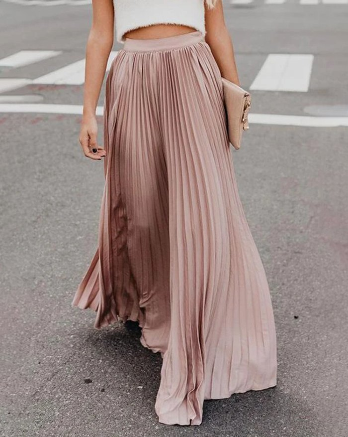 Pleated Billowing Maxi Skirt - Pink S