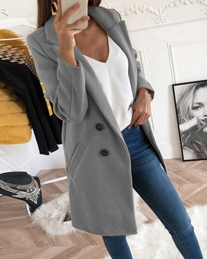 Solid Color Mid-length Coat - Gray M