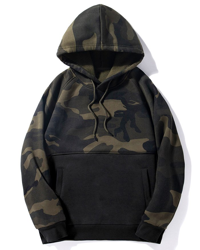 Men's Camouflage Patchwork Hoodie - Black XL