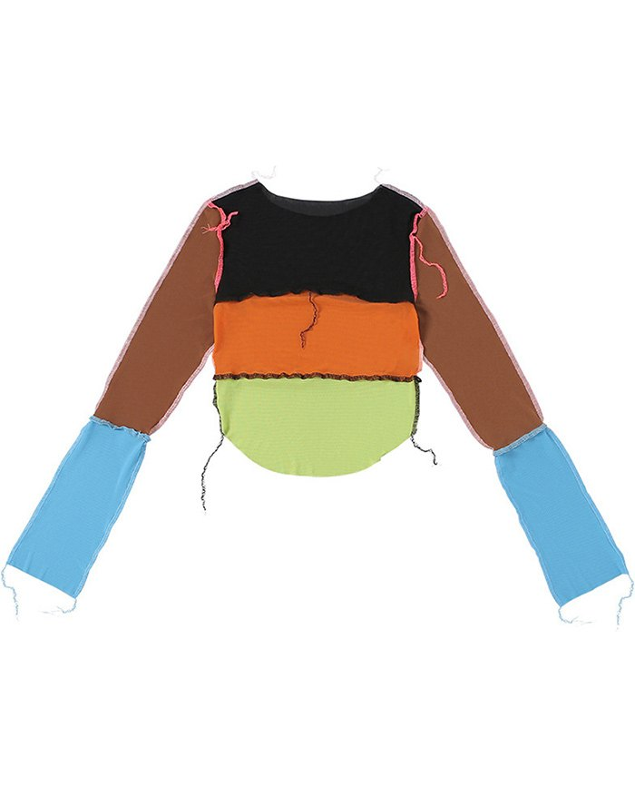 Patchwork Colorblock Mesh Sheer Tee - multicolorple Colors S