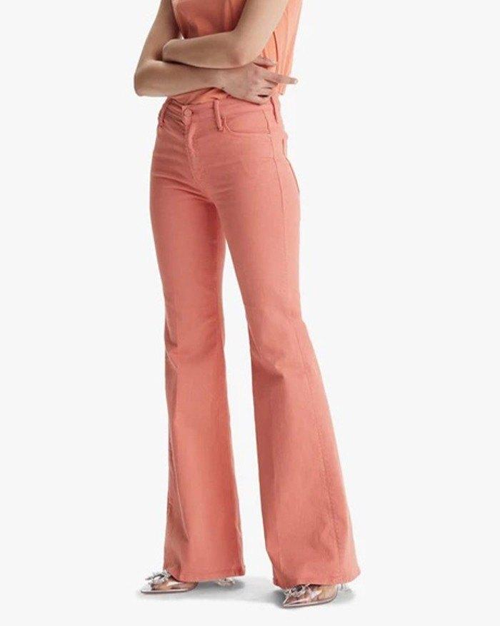 2021 Jeans Acampanados Drapeados De Cintura Alta Naranja S In Vaqueros Flare Online Store Best For Sale Emmiol Com