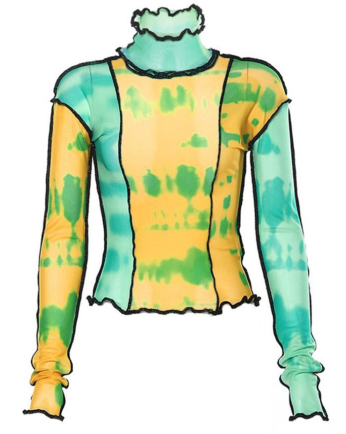 Patchwork Printed Stitching  Top - Green S
