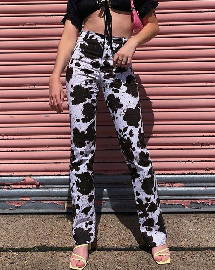 Cow Print Straight Flared Jeans - Blue M