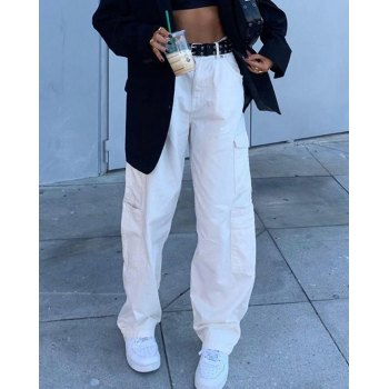 Side Pockets Straight-leg Jeans