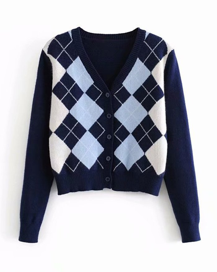 Plaid Knitted Cardigan - Blue L