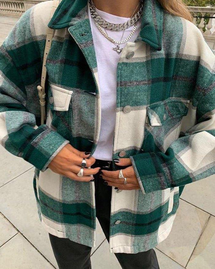 Vintage Pockets Over-sized Plaid Jacket - Green S