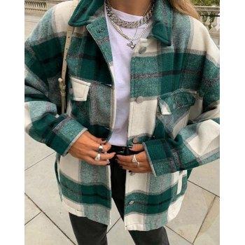 Vintage Pockets Over-sized Plaid Jacket