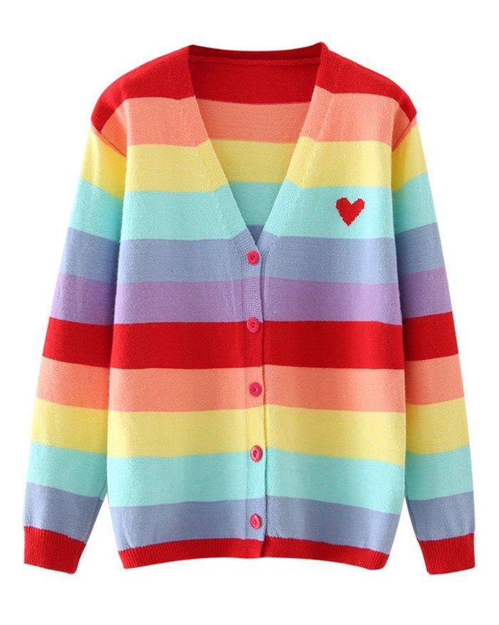 Rainbow Stripe Heart Cardigan - multicolorple Colors M