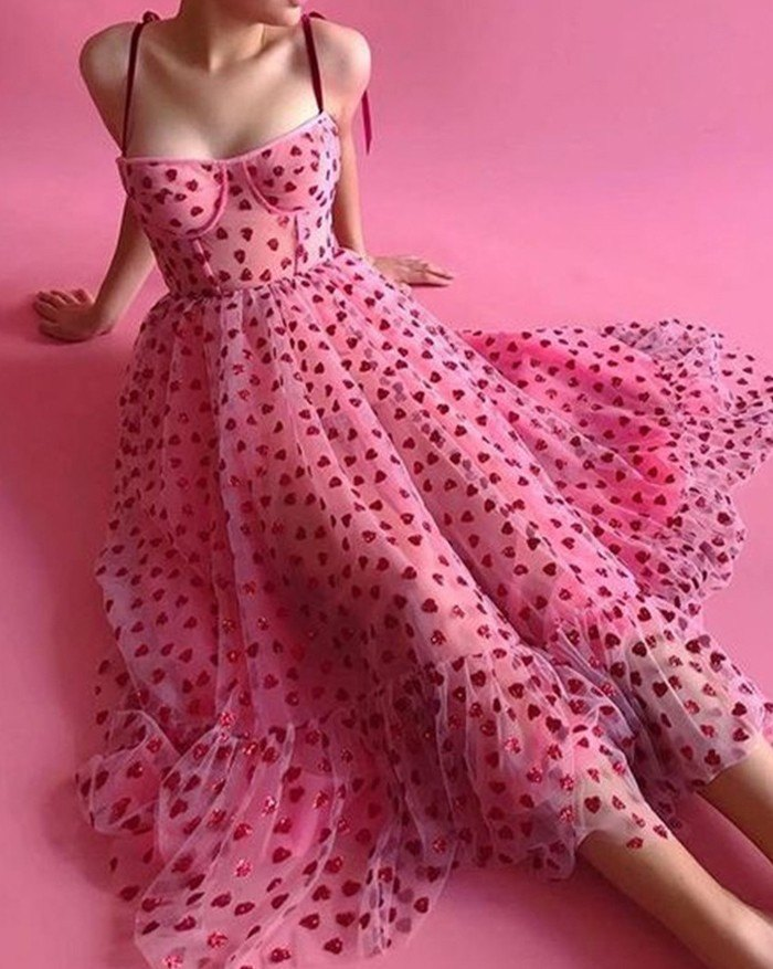 Heart Beaded Mesh Sling Maxi Dress - Pink S