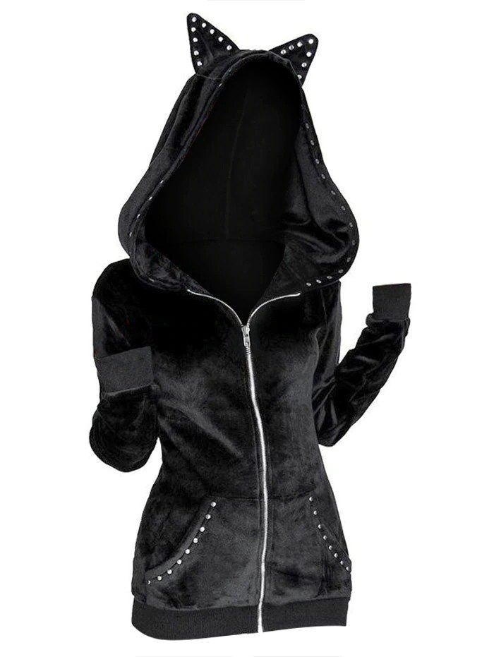 Diablo Punk Cat Ears Studded Hoodie - Black L