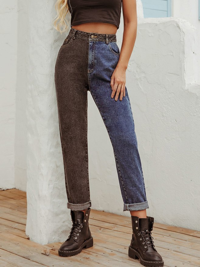 High-waist Retro Contrast Color Patchwork Boyfriend Jeans - multicolorple Colors M