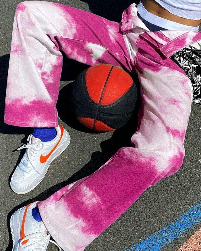 Mid Waist Tie-dye Straight Jean - Pink M