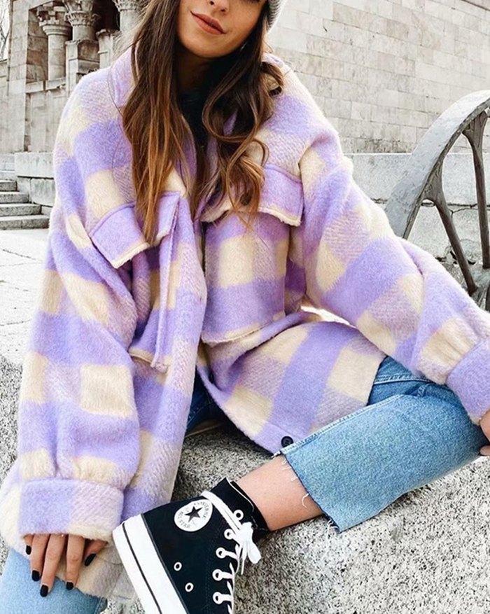 Single-breasted Plaid Loose Coat - Purple XL