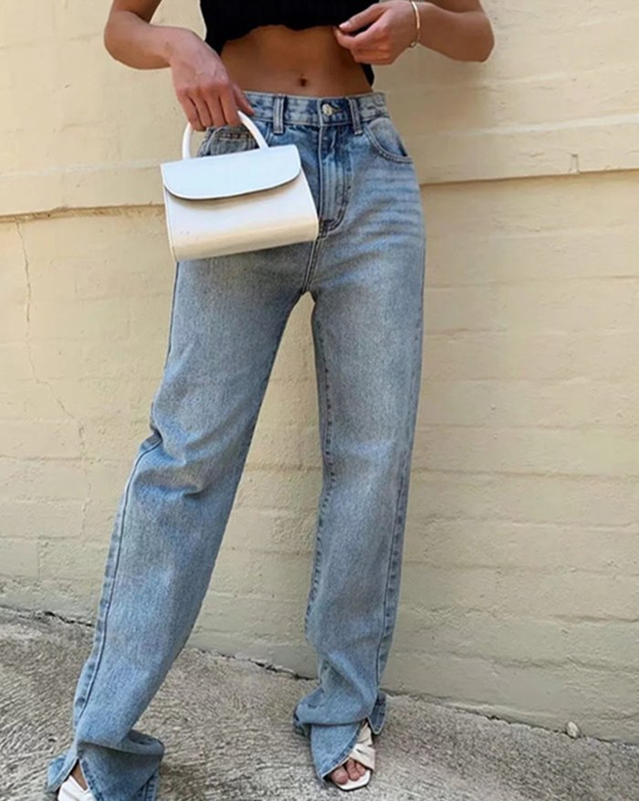 Split Leg Mopping Jeans - Blue L