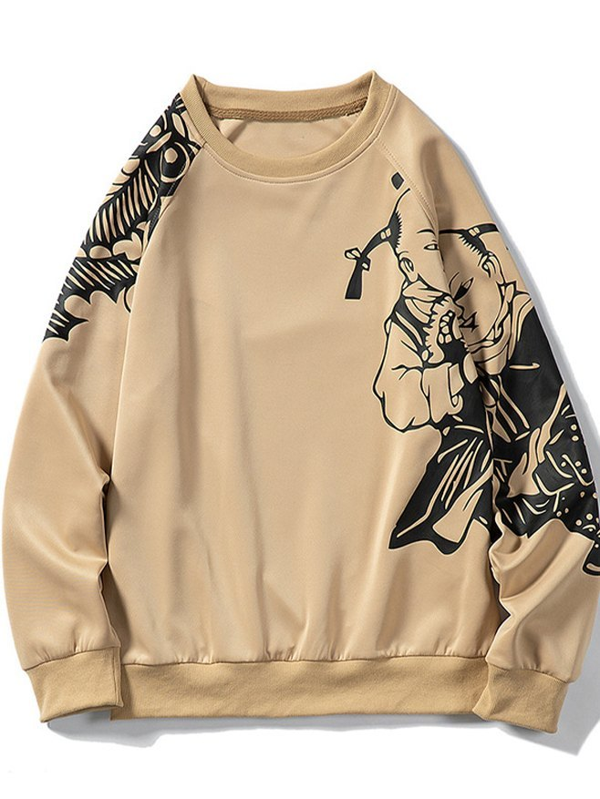 Men's Printed Sweatshirt - Khaki M