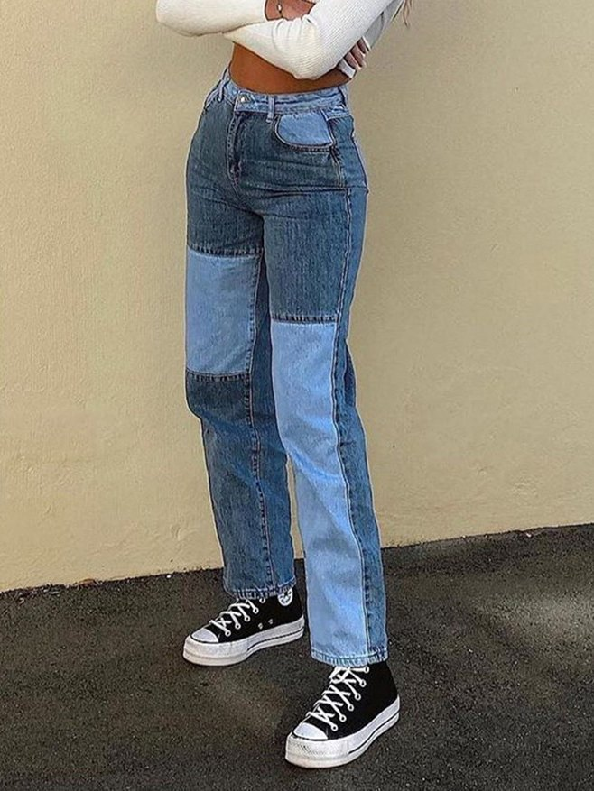 Kontrast Patchwork Straight-Leg Jeans - Blau XS