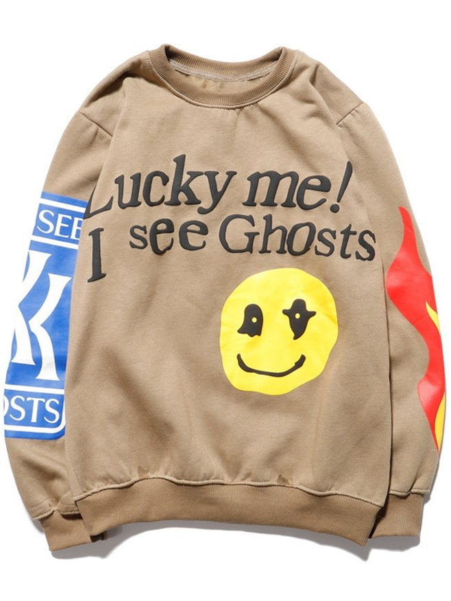 Men's Smiley Letter Printed Sweatshirt - Khaki XL