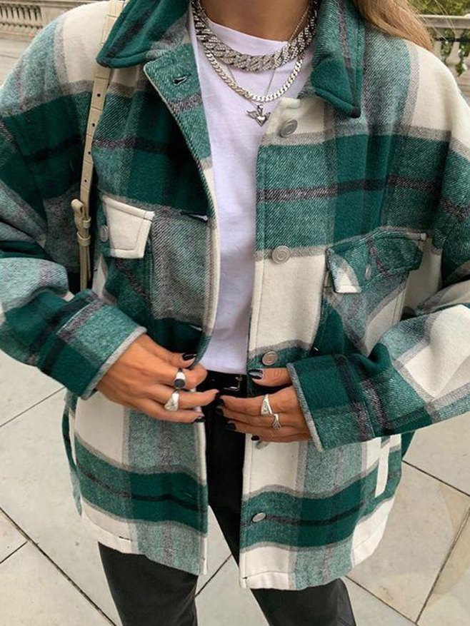Shacket Vintage Pockets Over-sized Plaid Jacket - Green S