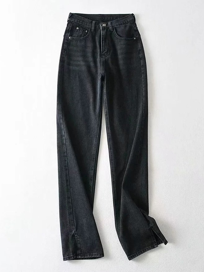 High Waist Straight Mopping Jeans - Black XS