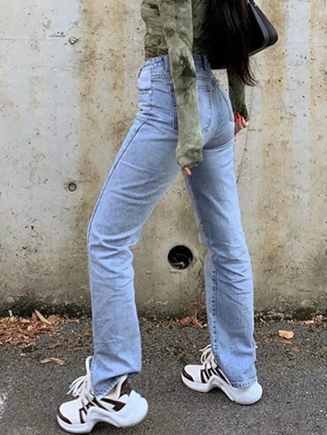 High Waist Straight Mopping Jeans - Blue XS