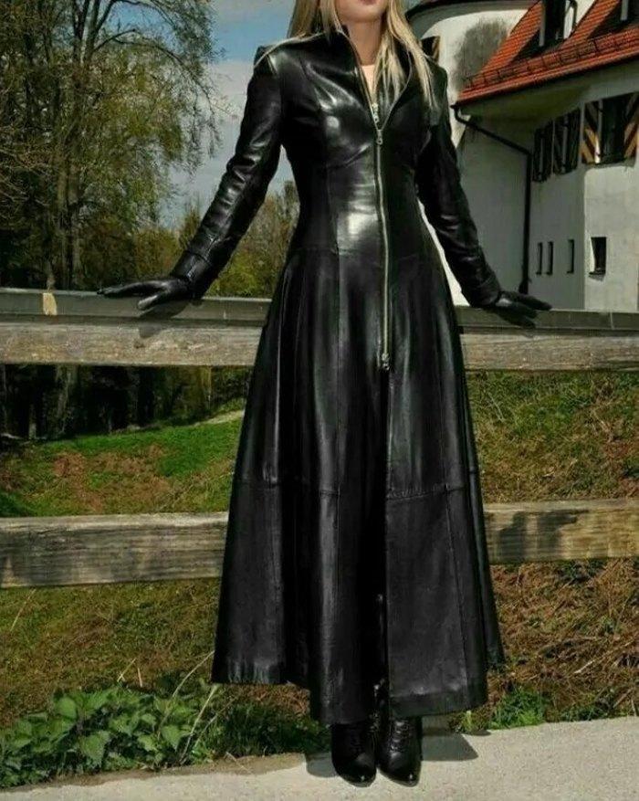 Faux Leather Front Zip Long Coat - Black L