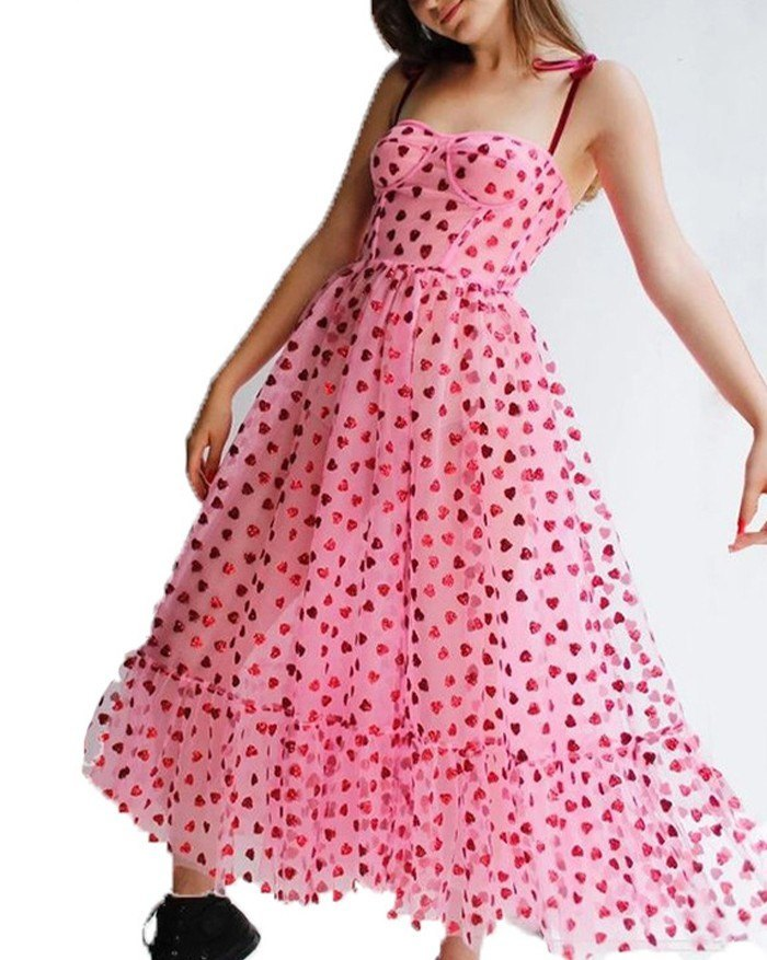 Heart Beaded Mesh Sling Maxi Dress - Pink L