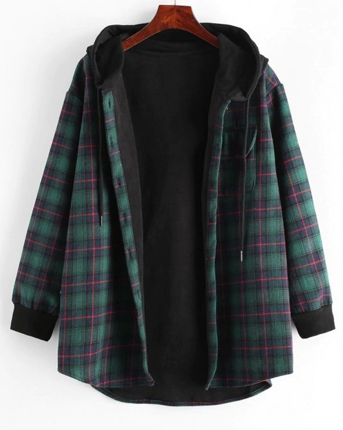 Plaid Button Up Pocket Hooded Jacket - Green L