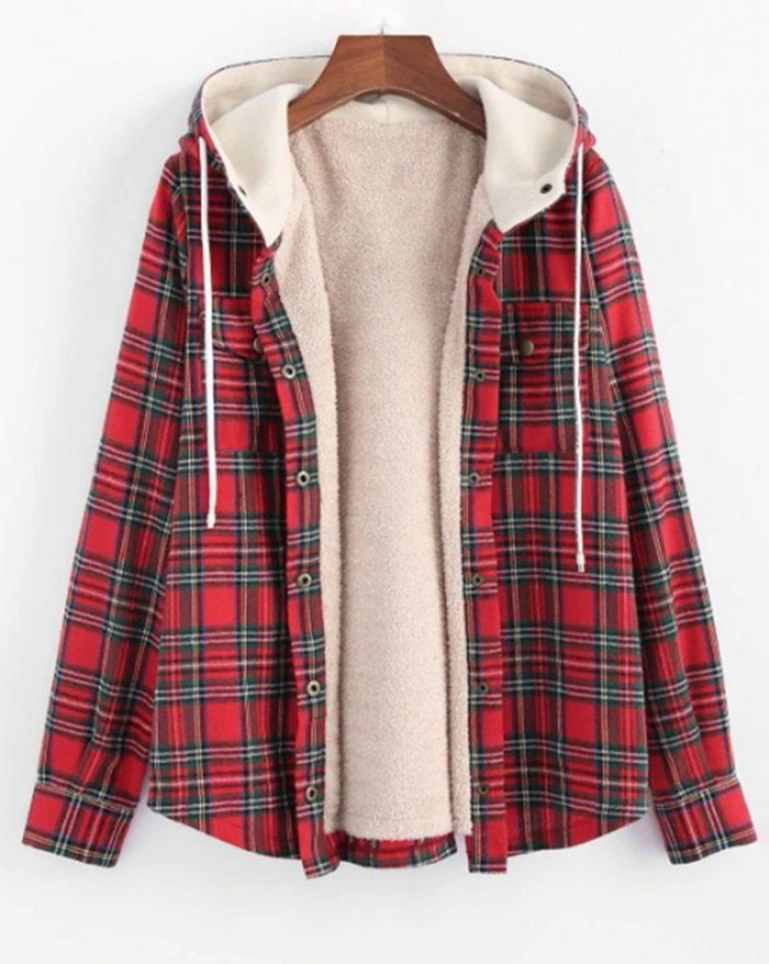 Plaid Hooded Fluffy Button Jacket - Red M