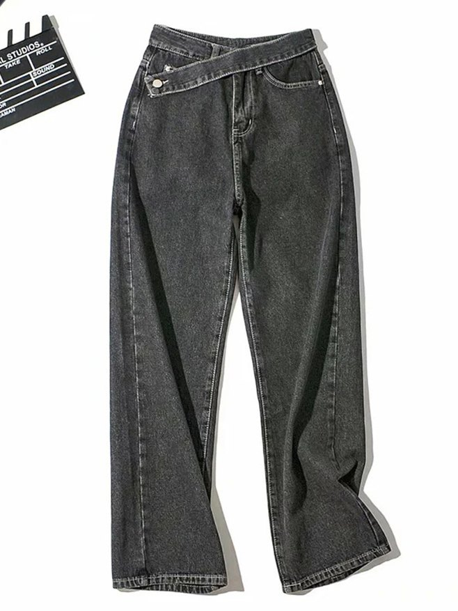 Straight Bf Wide Leg Denim Jeans - Black M