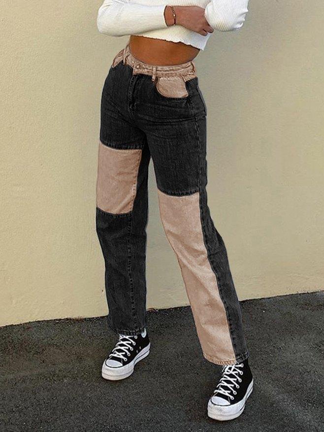 Contrast Patchwork Straight-leg Jeans - Black 2XL