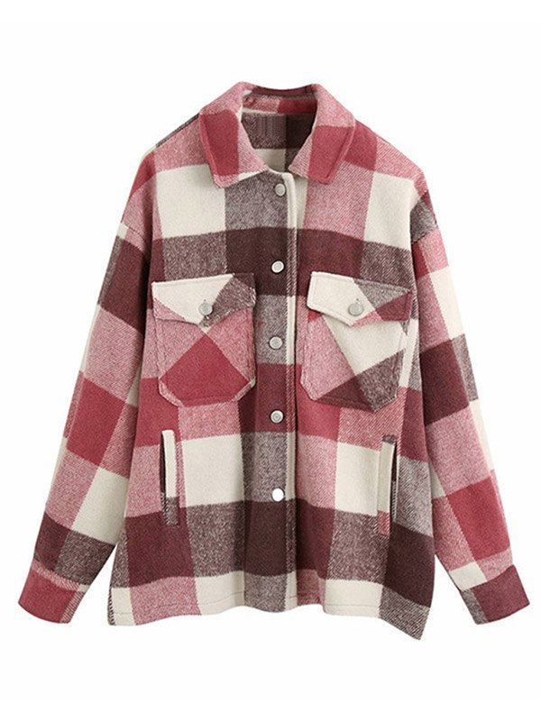 Shacket Vintage Pockets Over-sized Plaid Jacket - Red M