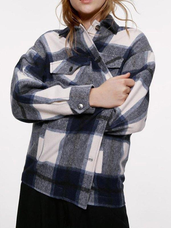Shacket Vintage Pockets Over-sized Plaid Jacket - Navy Blue L