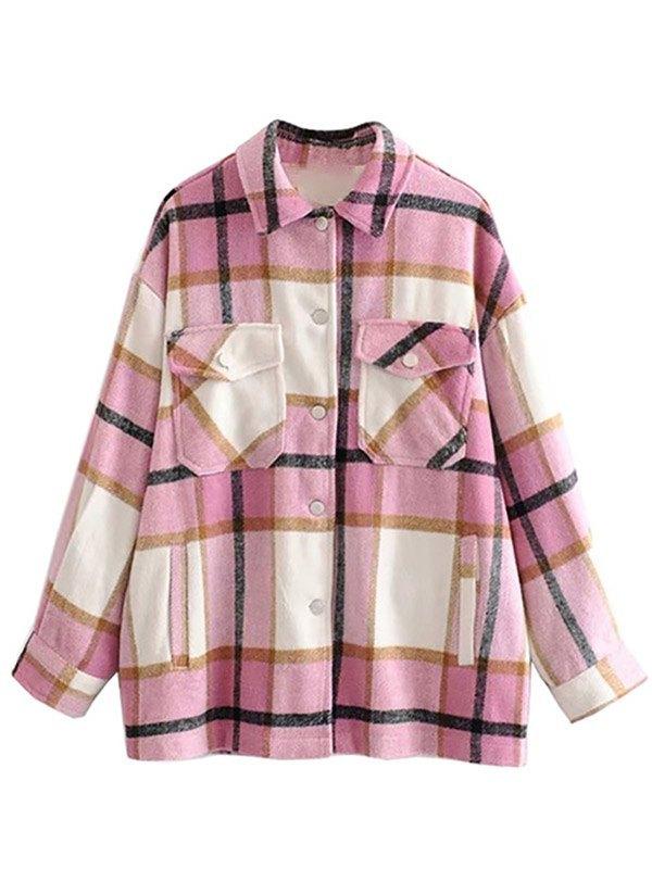 Shacket Vintage Pockets Over-sized Plaid Jacket - Pink L