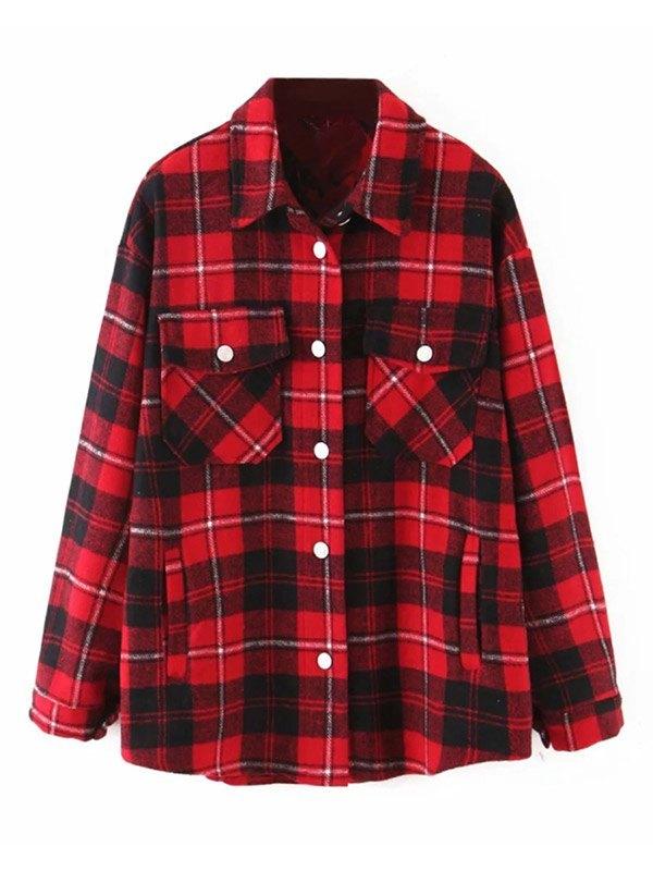 Shacket Vintage Pockets Over-sized Plaid Jacket - Red L