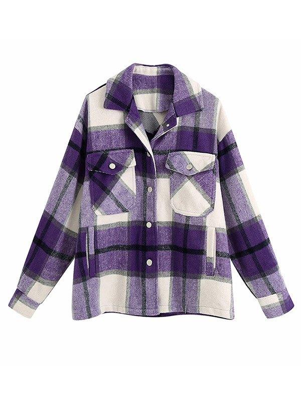Shacket Vintage Pockets Over-sized Plaid Jacket - Purple M
