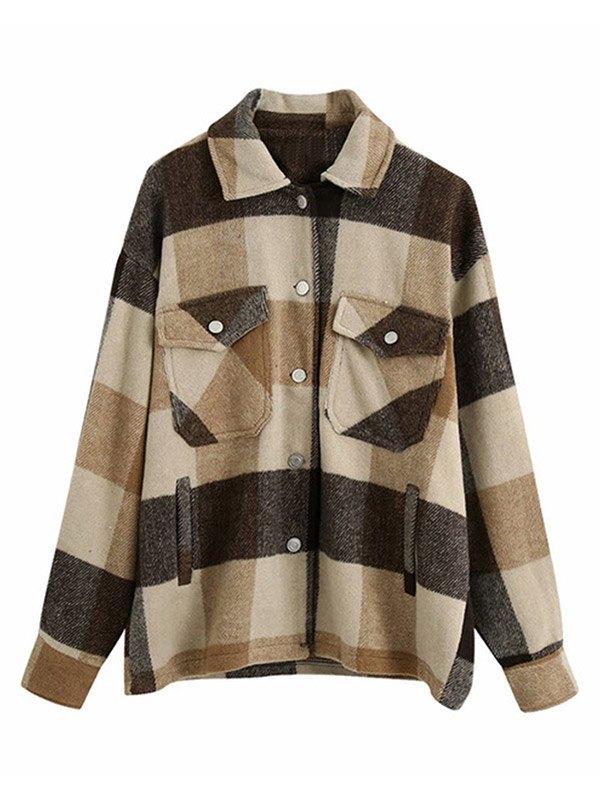 Shacket Vintage Pockets Over-sized Plaid Jacket - Kahki L