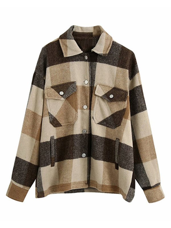 Shacket Vintage Pockets Over-sized Plaid Jacket - Kahki S