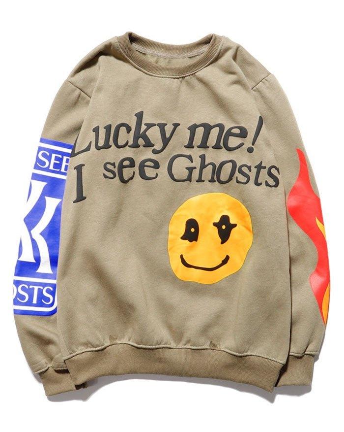 Men's Smiley Letter Printed Sweatshirt - Khaki L