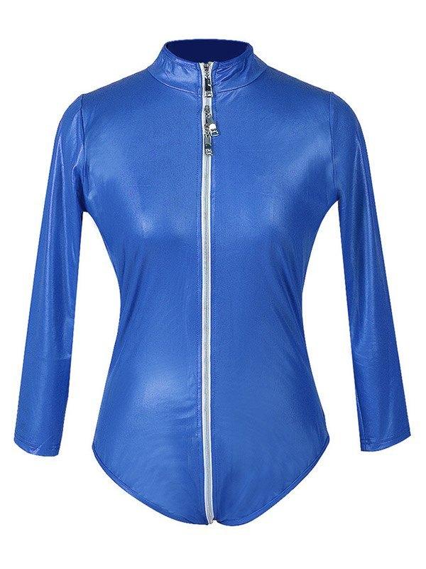 Glossy Patent Leather Zip-up Bodysuit - Blue L