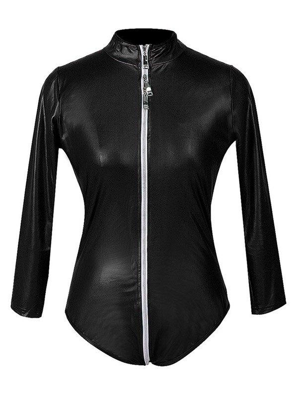 Glossy Patent Leather Zip-up Bodysuit - Black M
