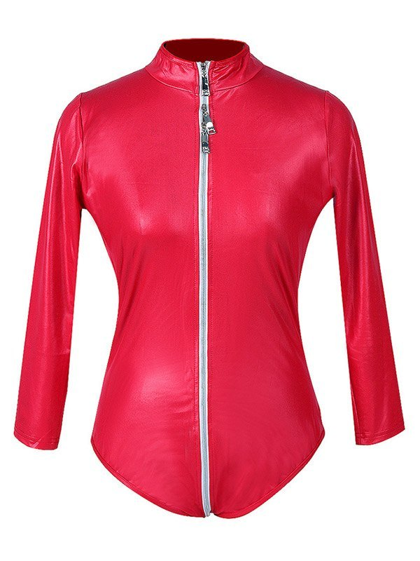 Glossy Patent Leather Zip-up Bodysuit - Red XL