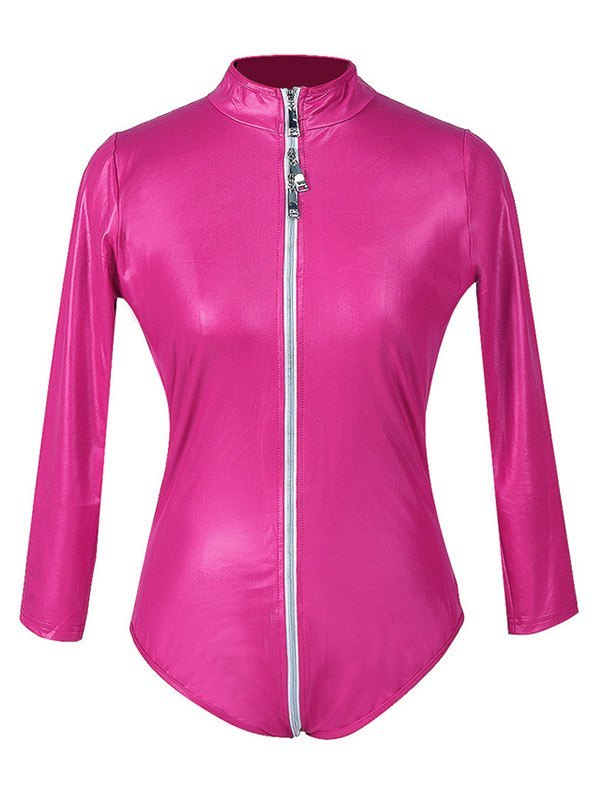 Glossy Patent Leather Zip-up Bodysuit - Beetroot Purple 2XL