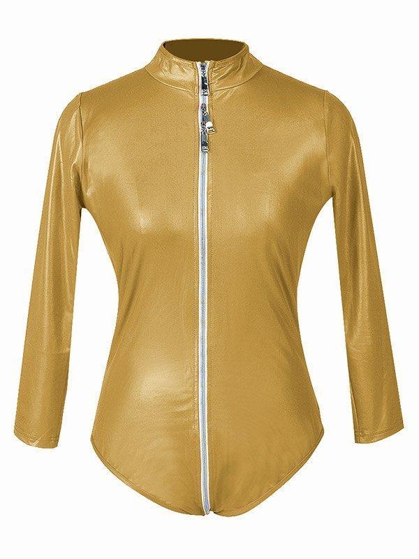 Glossy Patent Leather Zip-up Bodysuit - Golden 2XL